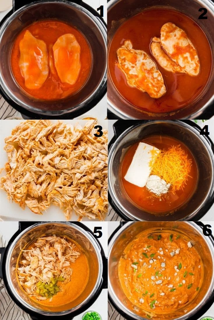 a collage of six photos showing the steps to make instant pot buffalo chicken dip