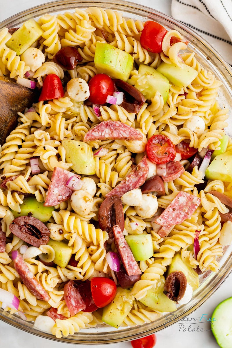 a close up of gluten free pasta salad to show the ingredients