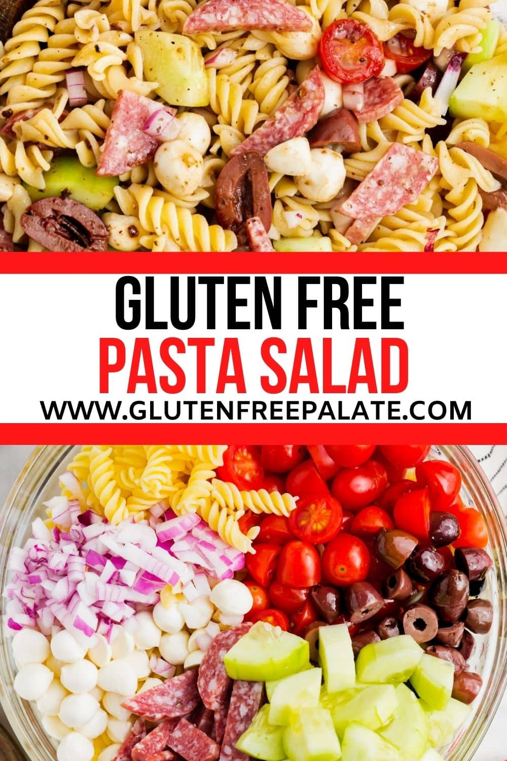 a pinterest pin collage for gluten free pasta salad
