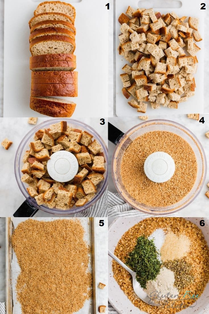 a collage of six photos showing the steps how to make gluten free bread crumbs