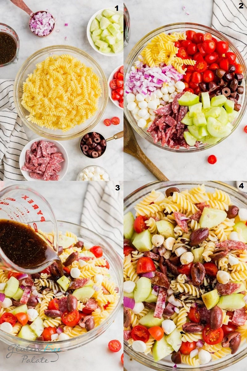a college of four photos showing the steps to make gluten free pasta salad