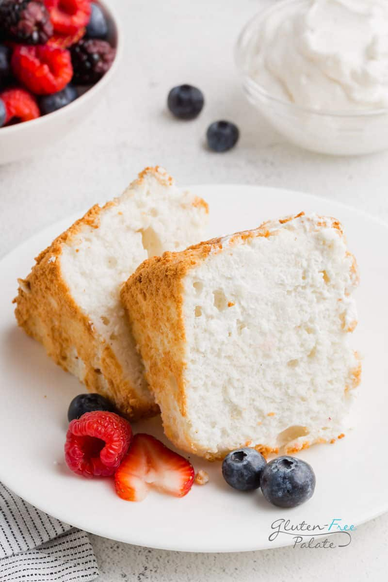 two slices of gluten free angel food cake on a white plate