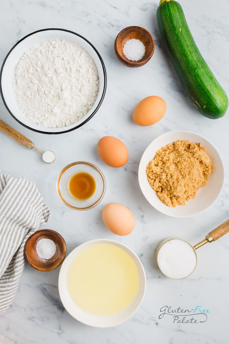 top down view of the ingredients in gluten free zucchini muffins