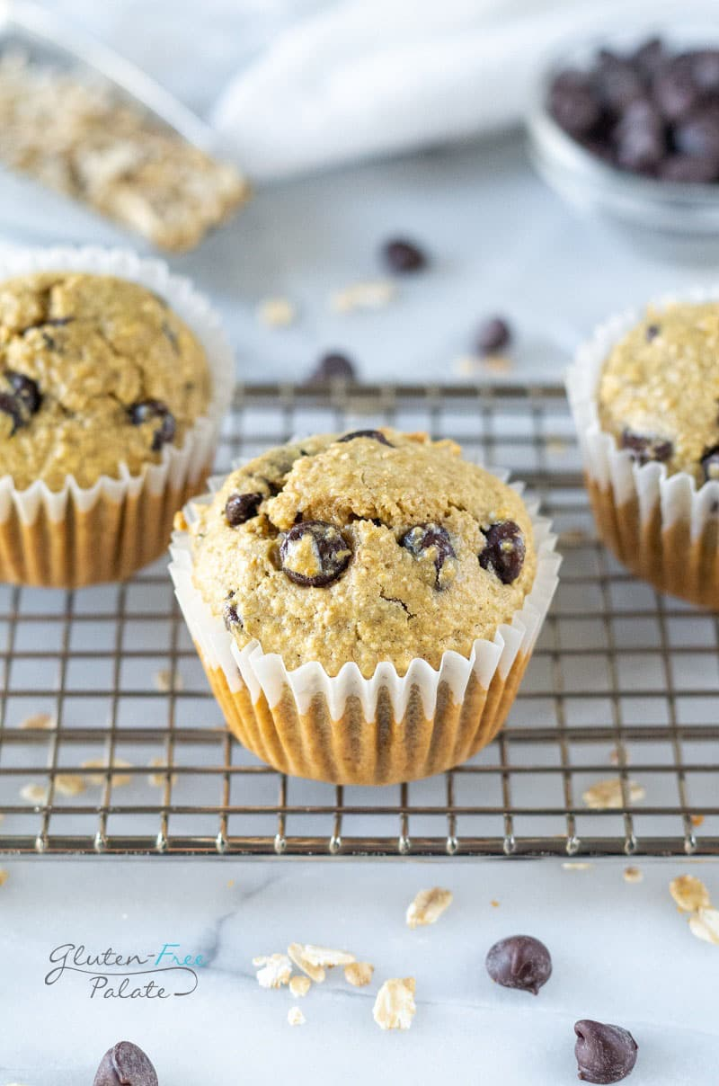 oat flour chocolate chip muffins on a cooling rack