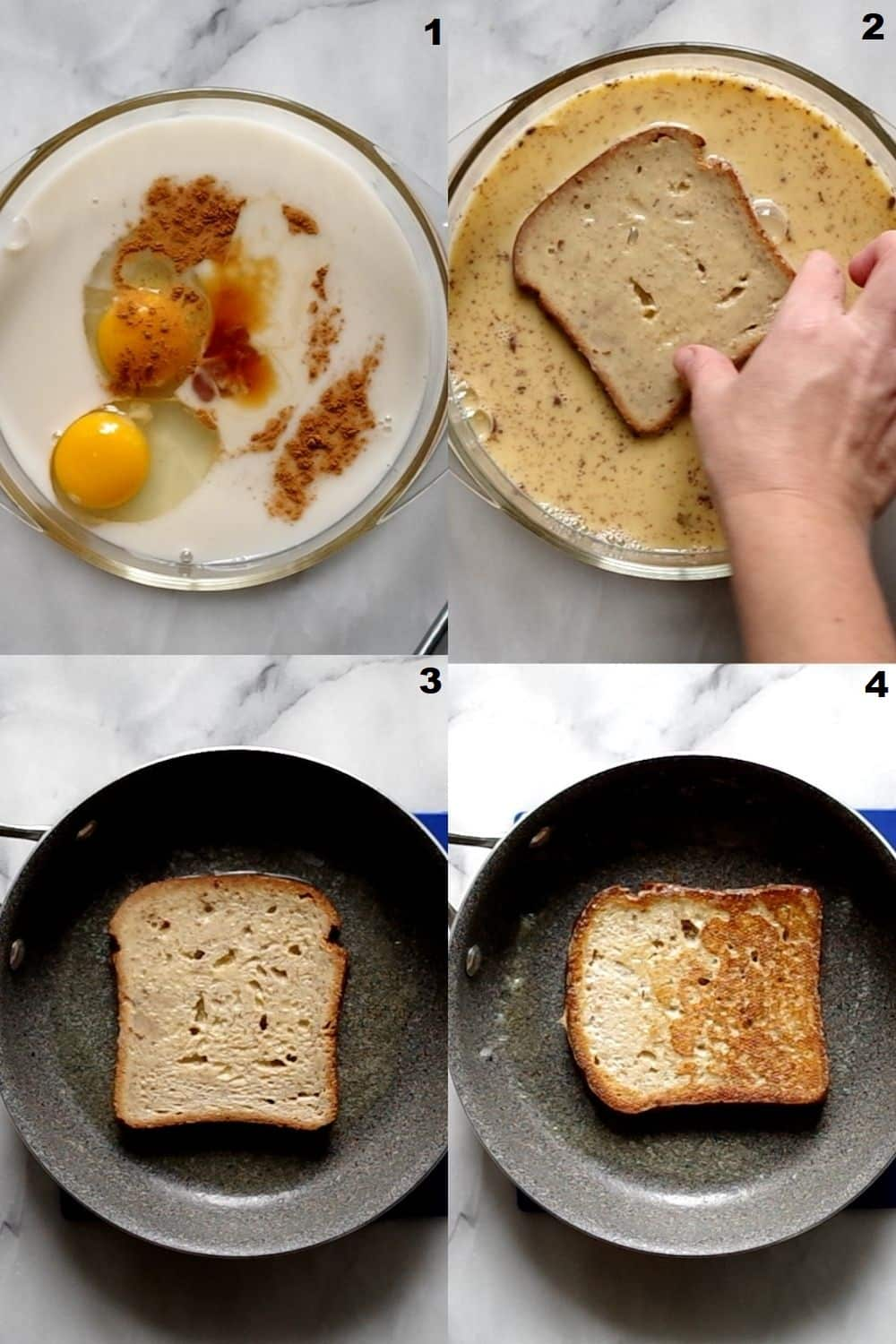 a collage of four photos showing how to make gluten free French toast