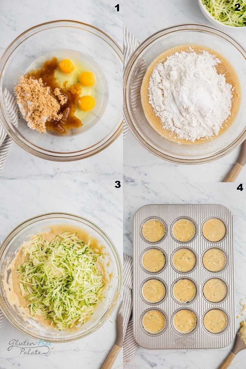 a collage of four photos showing how to make gluten free zucchini muffins