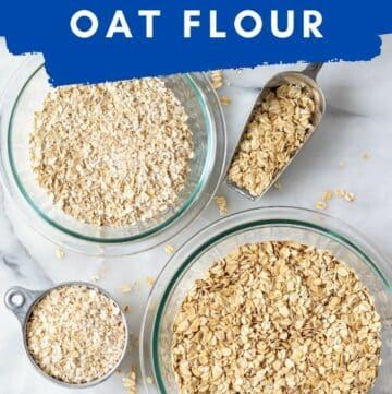 the words how to make oat flour over bowls of oats