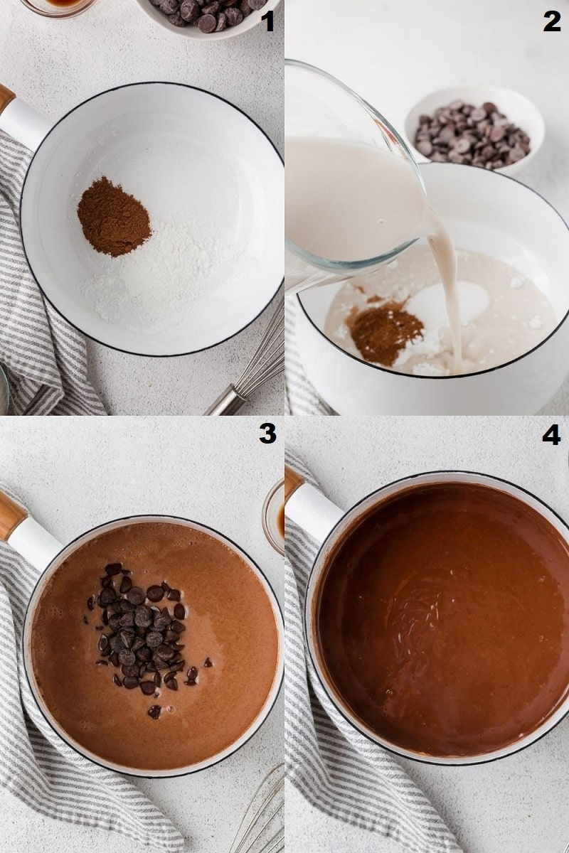 a collage of four photos showing the steps to make vegan chocolate pudding