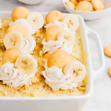 gluten free banana pudding in a white dish
