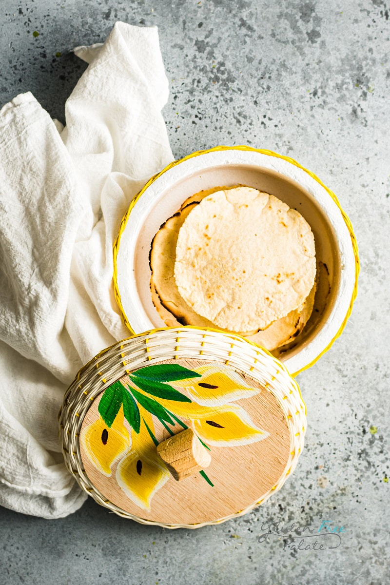 gluten free corn tortillas in a wicker bowl