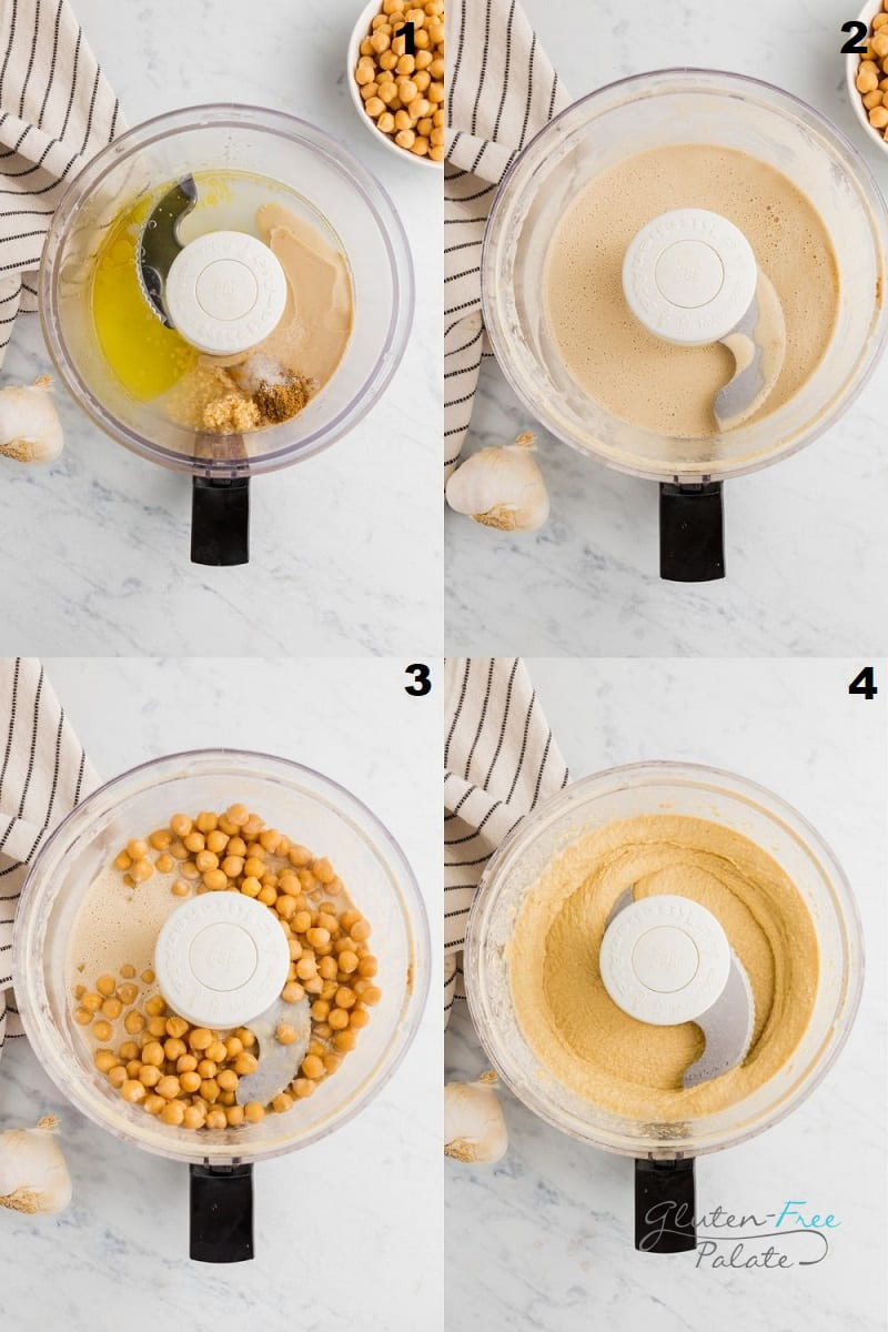 a collage of four photos showing the steps to make gluten free hummus