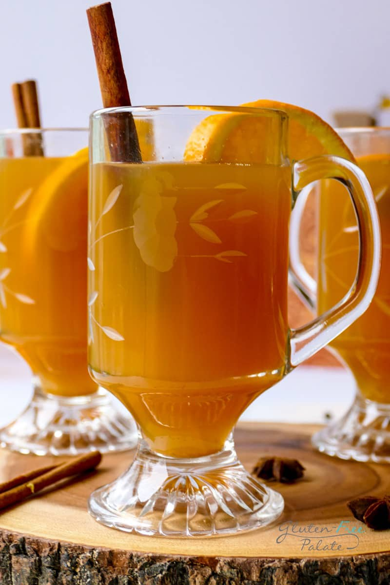 gluten free mulled cider in a glass with a cinnamon stick