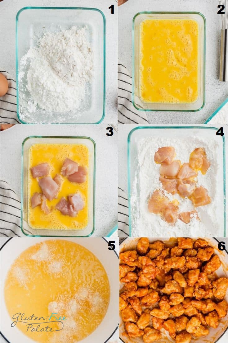 a collage of six photos showing the steps to make gluten free orange chicken