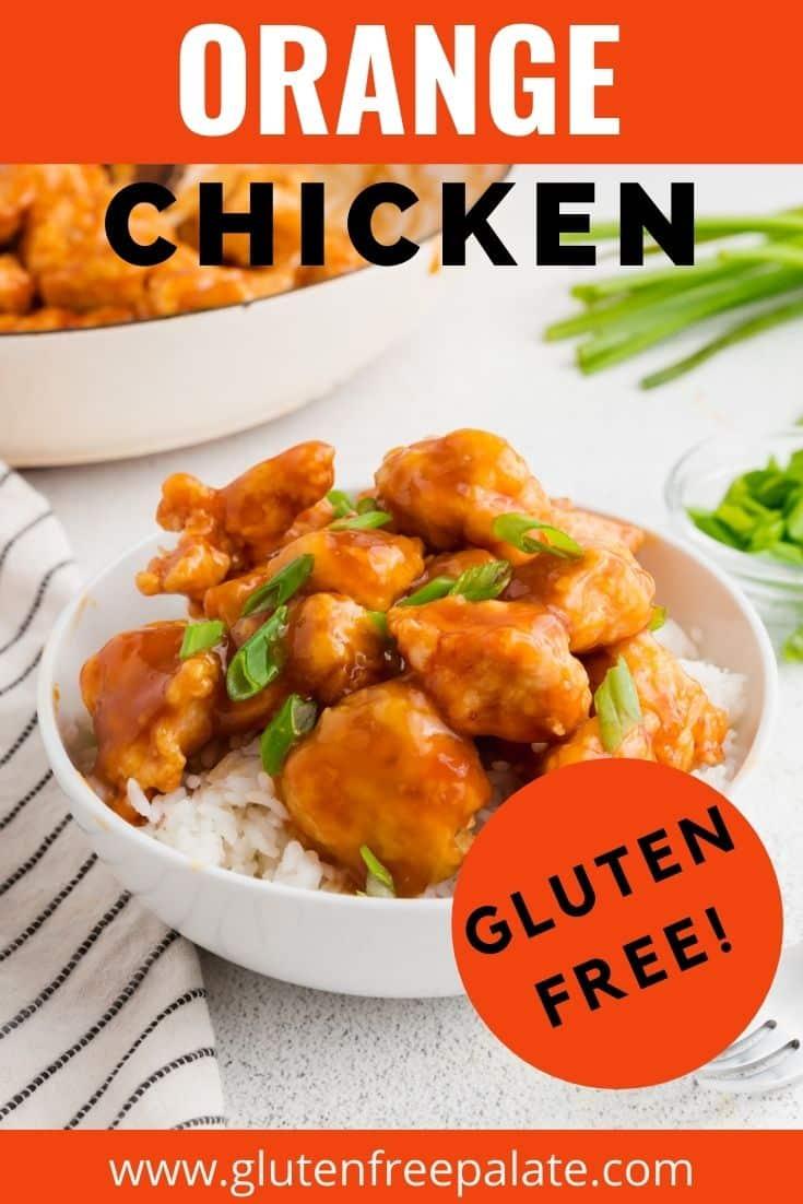 a pinterest pin collage for gluten free orange chicken