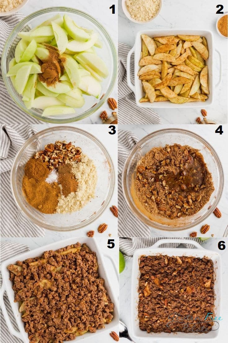 a collage of six photos showing the steps how to make paleo apple crisp