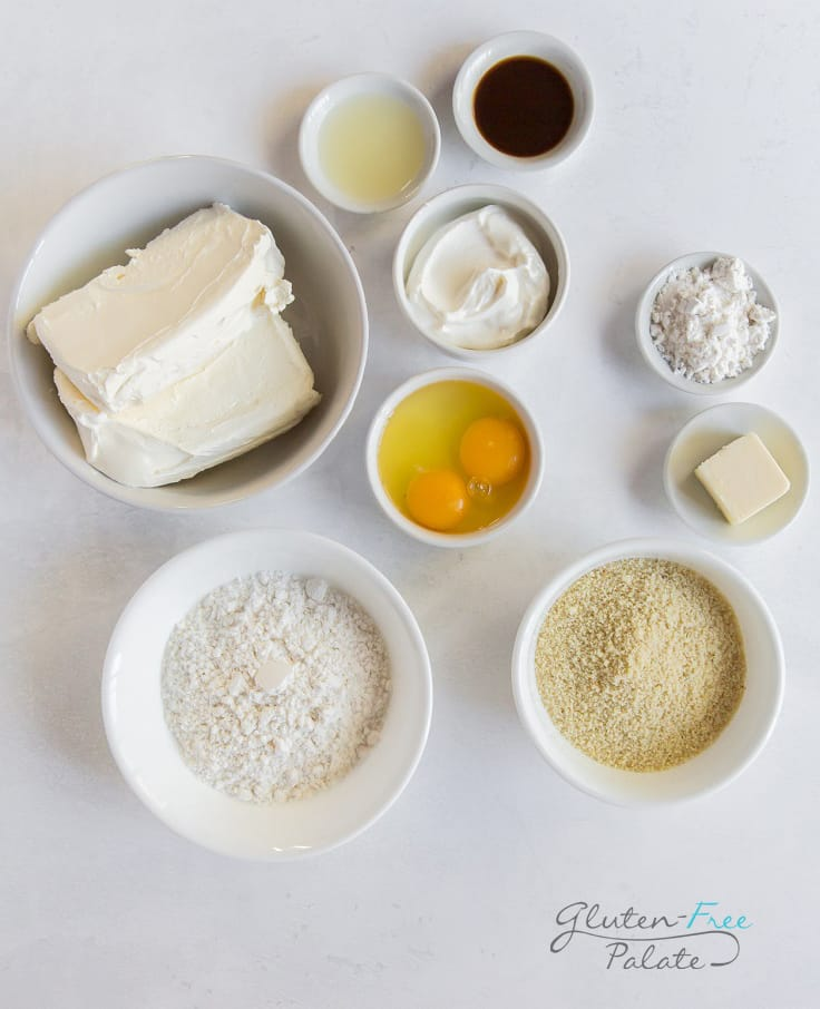 top down view of ingredients in gluten free cheesecake