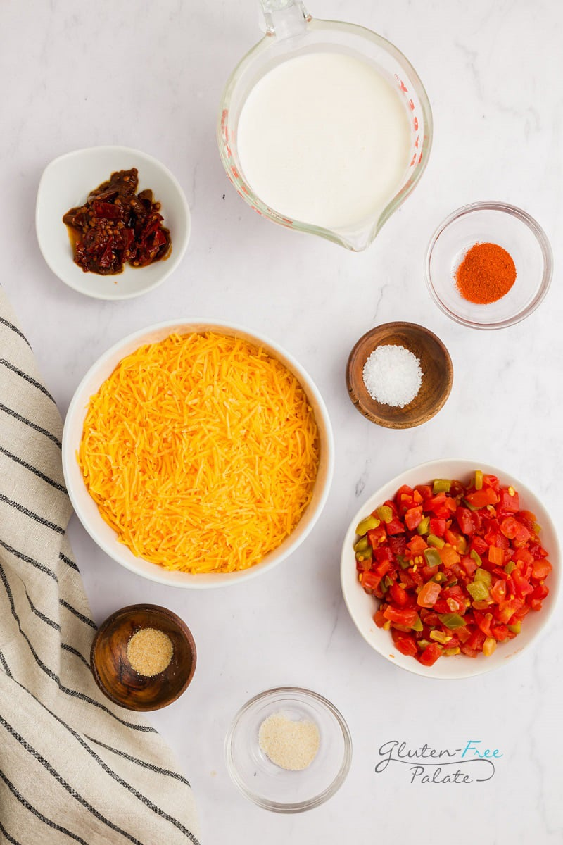 top down view of ingredients in smoked queso