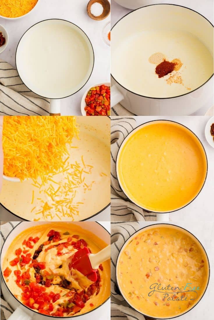 a collage of six photos showing how to make smoked queso
