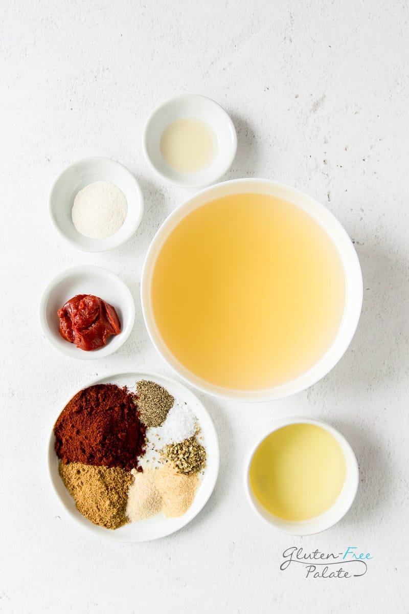 top down view of ingredients in gluten free enchilada sauce