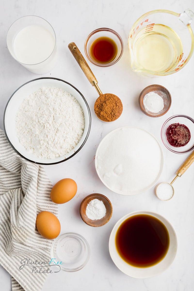 top down view of ingredients in gluten free red velvet cake