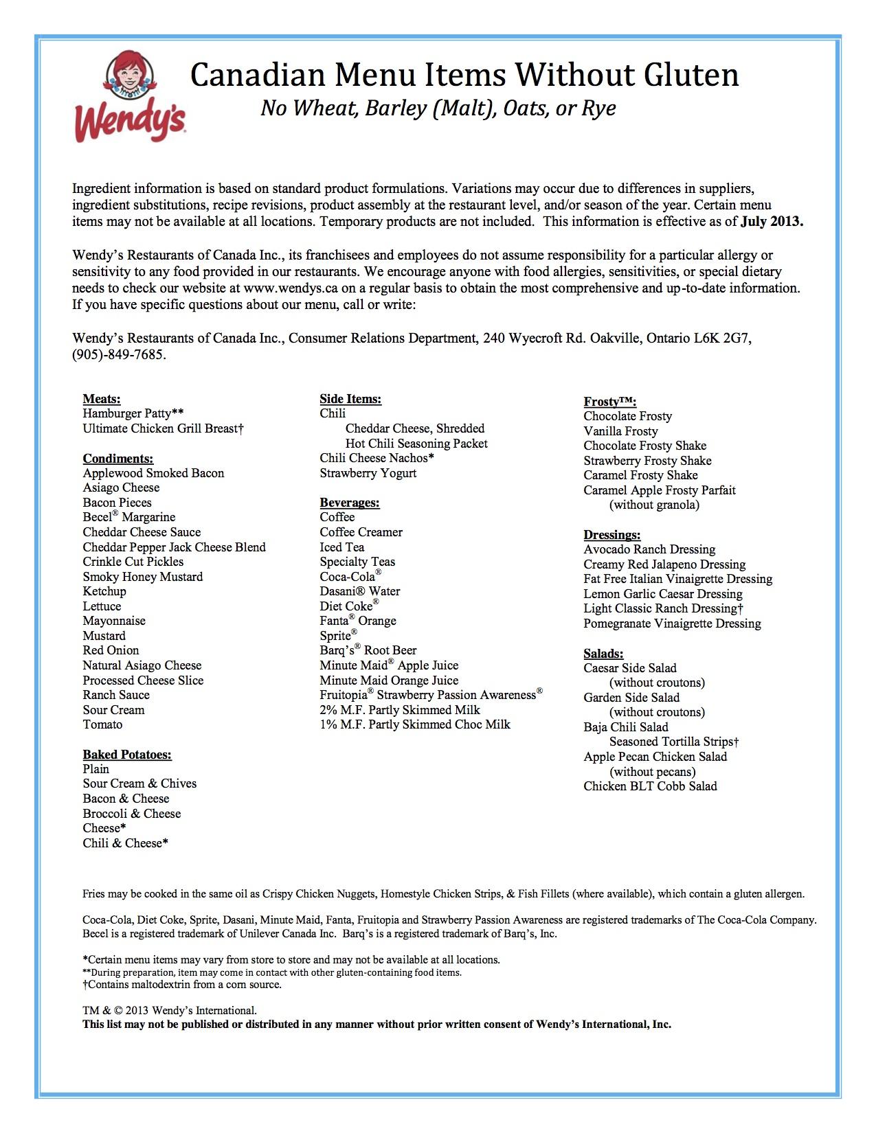 Canadian Wendy's allergen menu- Gluten Free Regina