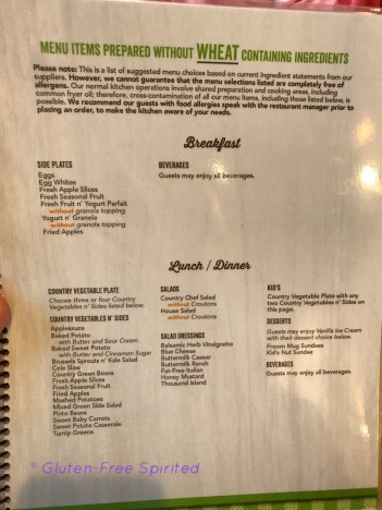 A picture of Cracker Barrel's wheat-free menu