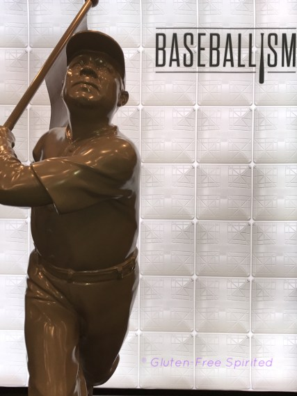 A picture of the Babe Ruth statue in Baseballism's store.