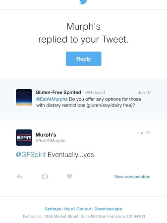 A picture of a tweet from Eat At Murph's.