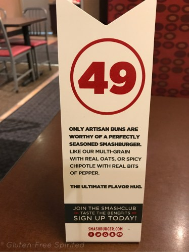 A pictures of the table marker at Smashburger.