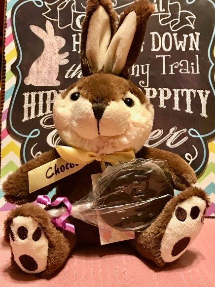 Chocolate Easter Egg shaped lollipop with stuffed bunny