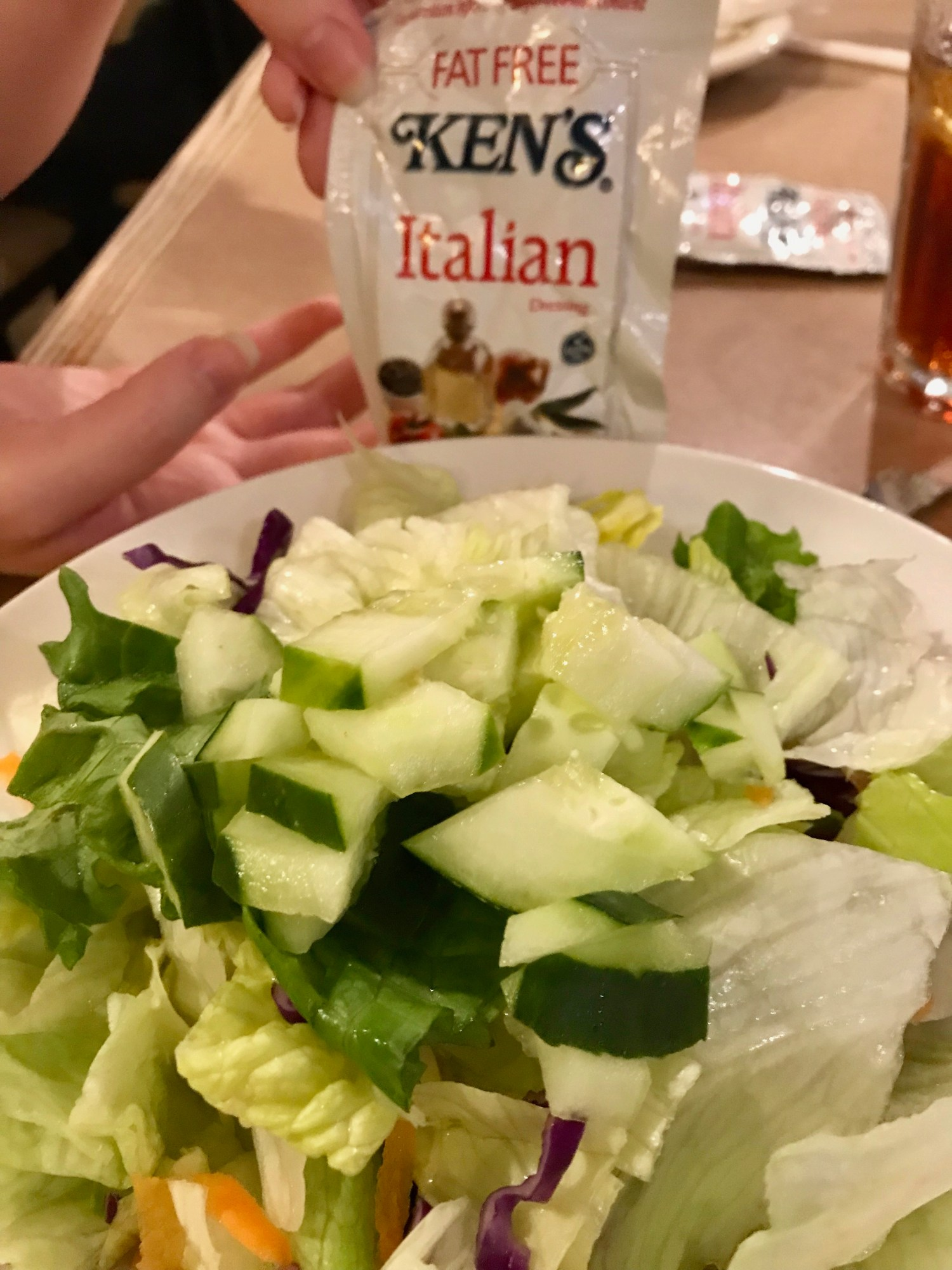Salad and dressing from Landmark Diner