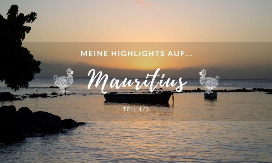 Sonnenuntergang auf Mauritius mit Blick aufs Meer