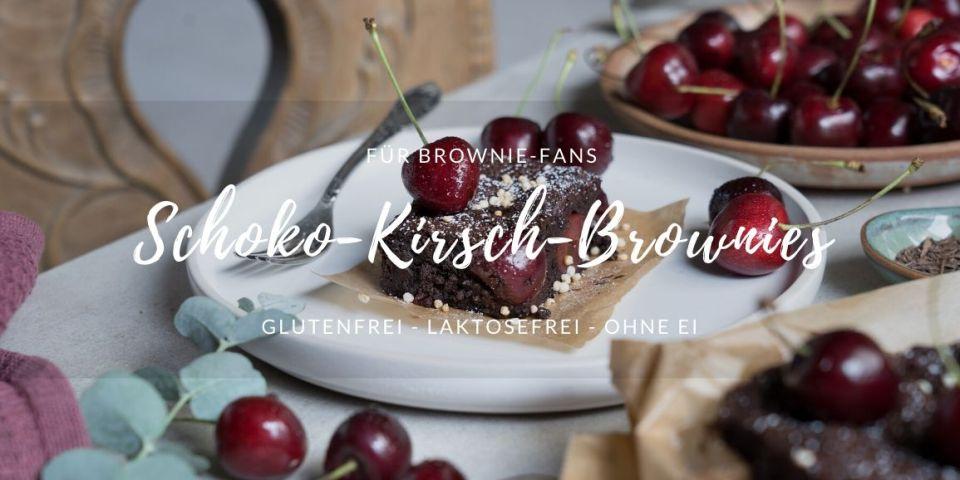 Rezept für glutenfreie und laktosefreie Schoko-Kirsch-Brownies