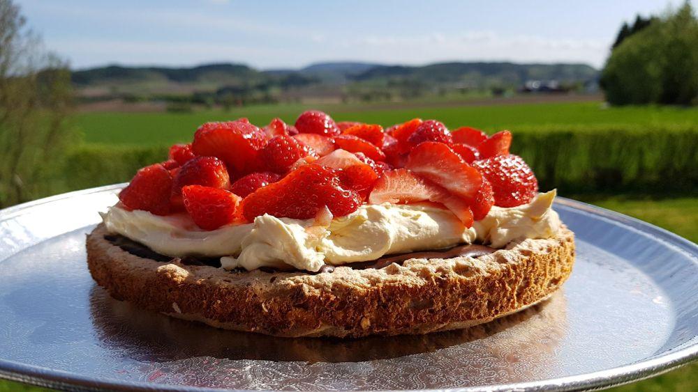 Mandelbunn med jordbær
