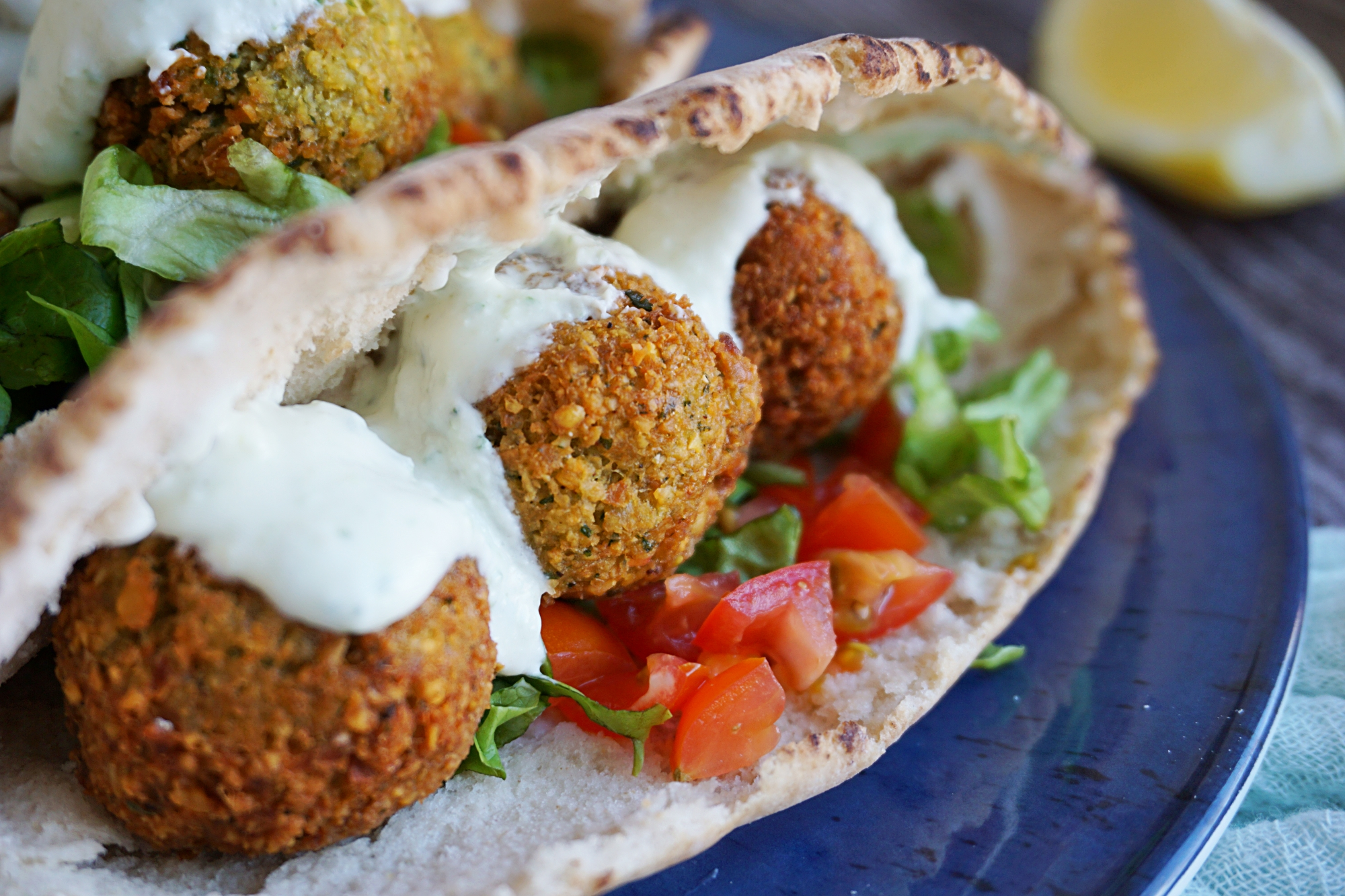 Falafel sandwich with yogurt-cucumber sauce