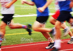 School children on running track