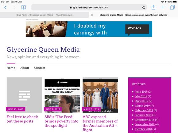 screenshot of Glycerine Queen Media blog