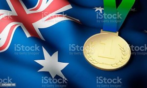 Australian flag and gold medal