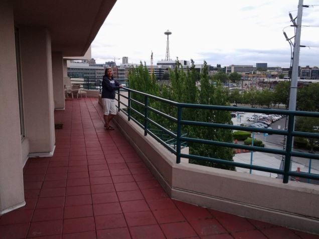 The balcony went on forever! Overlooking Lake Union in Seattle, WA