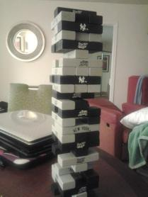Some of our pastime activity, New York Yankees Jenga!