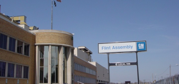 GM General Motors Flint Assembly Factory sign GM Temporarily Shuts Down Flint Assembly Plant