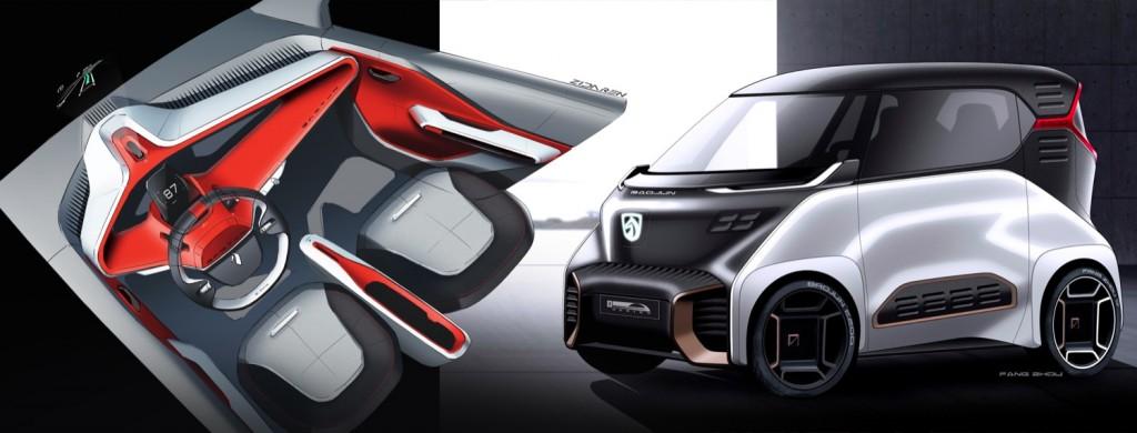 Baojun E200 exterior and interior sketch