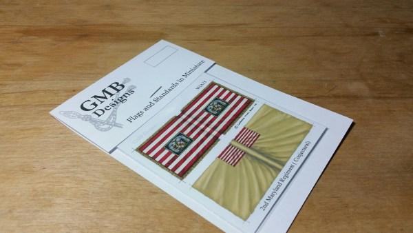 2nd Maryland, crest central, on gold fringed striped flag