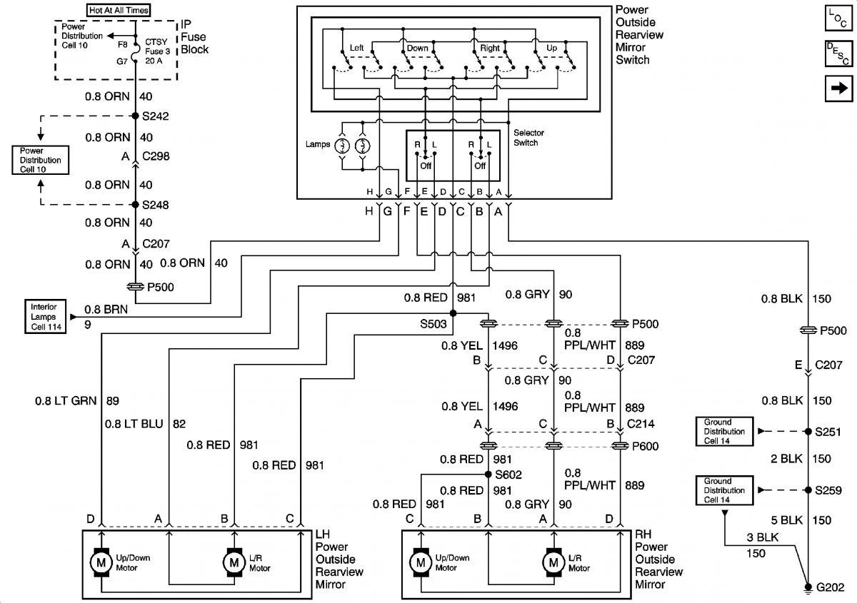 1999 Tahoe Power Mirror Wiring Diagram