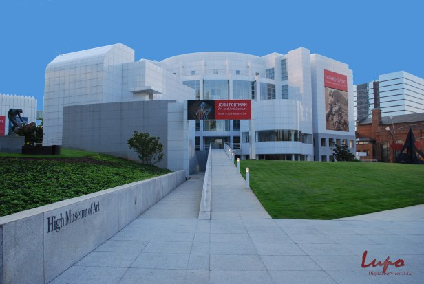 High Museum of Art, Peachtree Street, Atlanta, GA. Taken 4 September 2009, with a Nikon D60 DSLR. Edited to remove the tree branch in the upper left, and add a blue background.