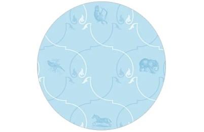 Ornamentale Tapete mit Afrikas Tieren in blau Tönen