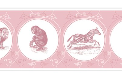 Kinder Tapetenborte mit Affen, Löwen und Kakadus