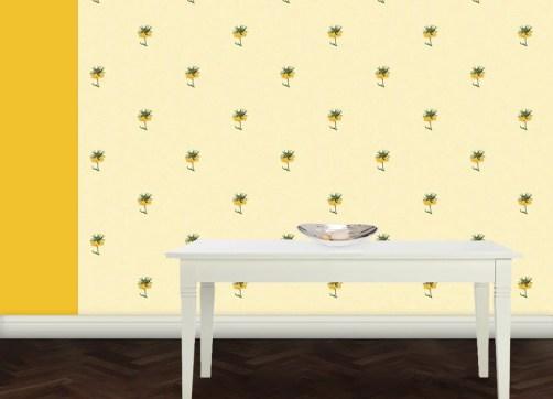 Exotische ornamentale Tapete mit großen Blumen