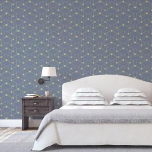 """Moderne grafische Tapete """"Celestial Dots"""" großes Muster in lila grün angepasst an Farrow and Ball Wandfarben - Vliestapete Grafisch"""