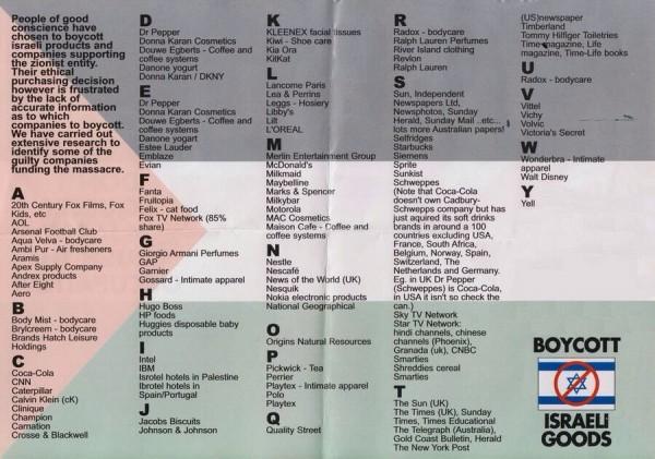 Companies to boycott